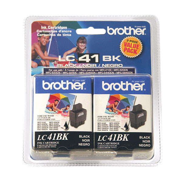 Genuine OEM Brother LC-41BK2PKS Black Inkjet Cartridge (2 pk)